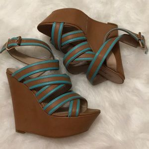 Brown and turquoise wedges